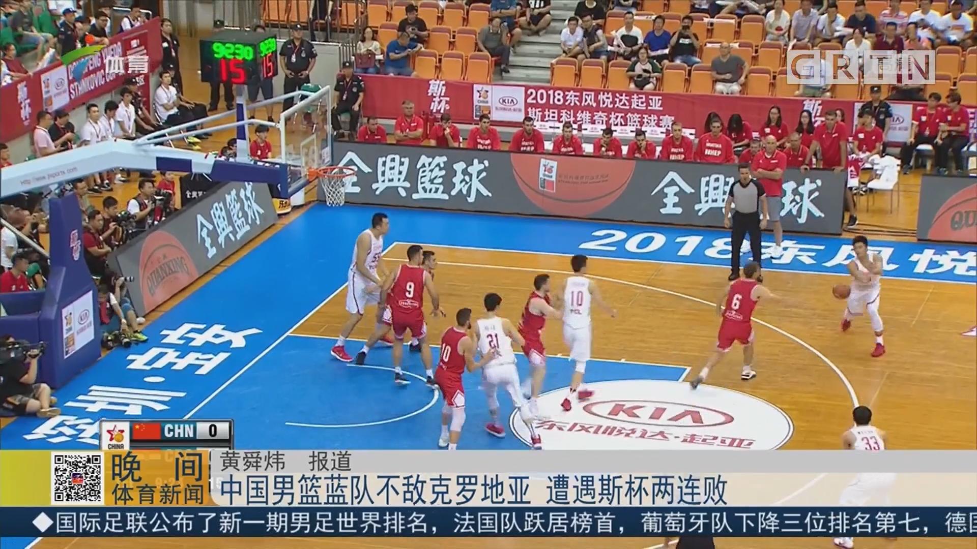 中国男篮蓝队不敌克罗地亚 遭遇斯杯两连败