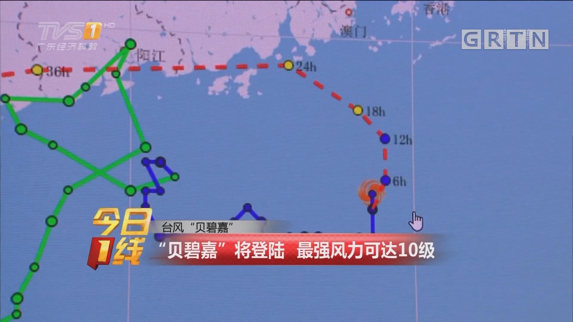"""台风""""贝碧嘉"""":""""贝碧嘉""""将登陆 最强风力可达10级"""