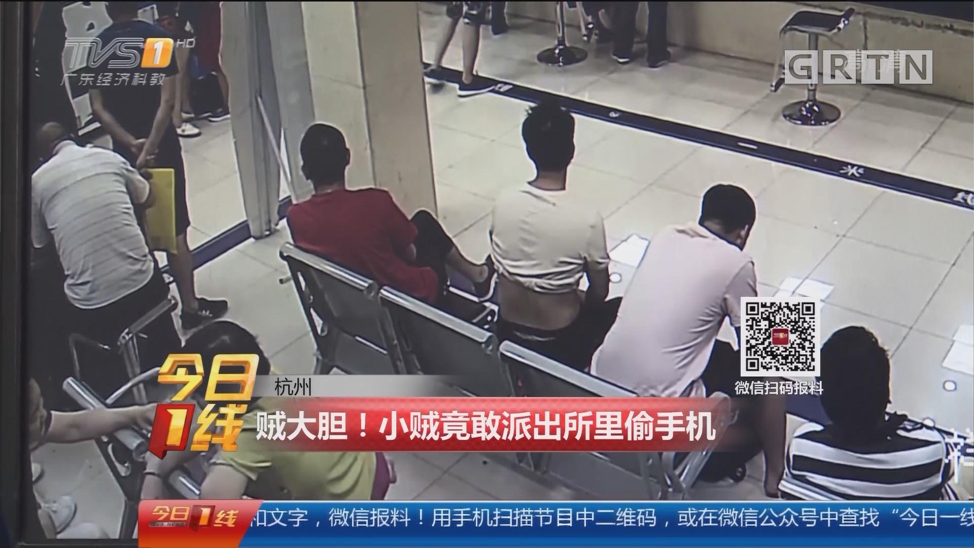 杭州:贼大胆!小贼竟敢派出所里偷手机