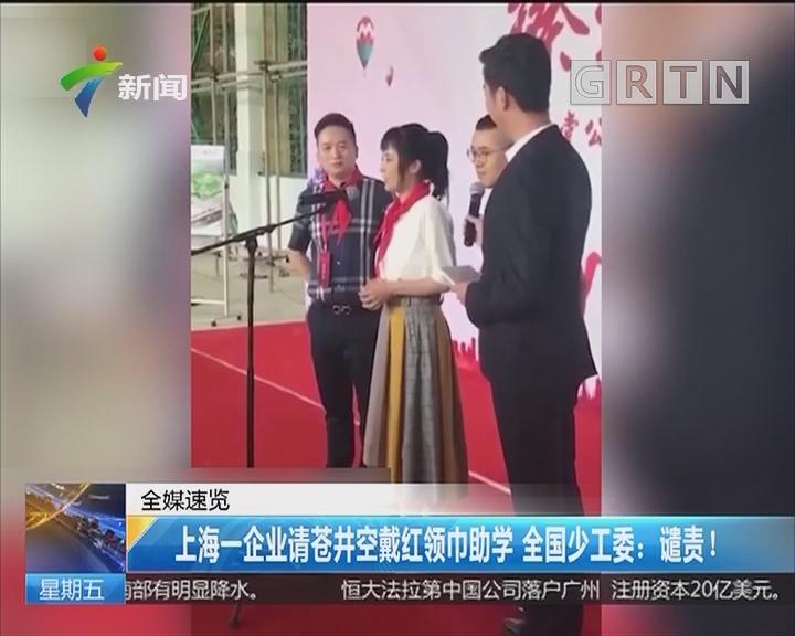 上海一企业请苍井空戴红领巾助学 全国少工委:谴责!