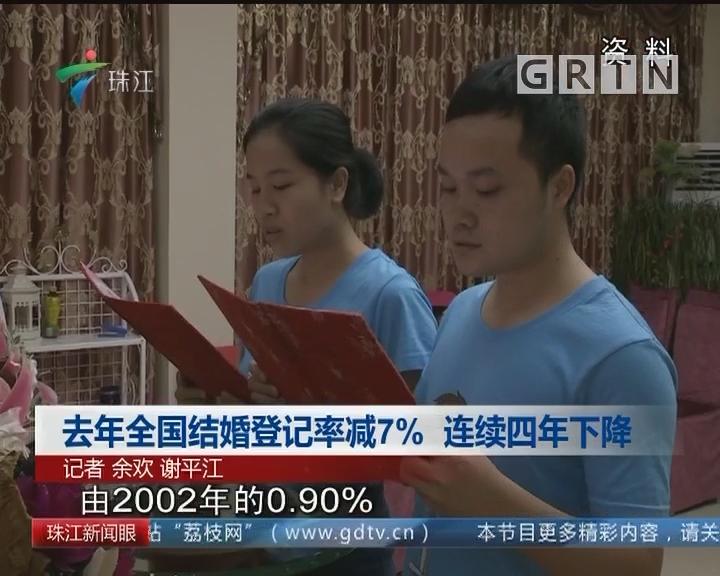 去年全国结婚登记率减7% 连续四年下降
