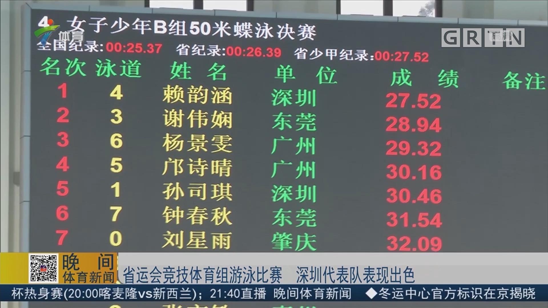 省运会竞技体育组游泳比赛 深圳代表队表现出色