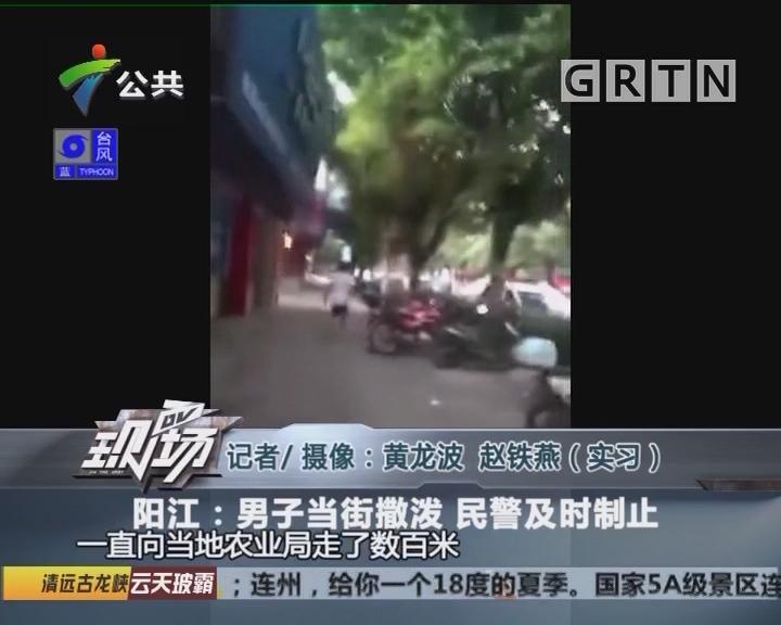 阳江:男子当街撒泼 民警及时制止