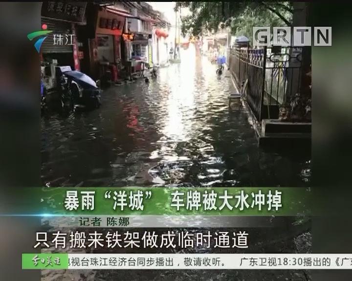 """暴雨""""洋城"""" 车牌被大水冲掉"""