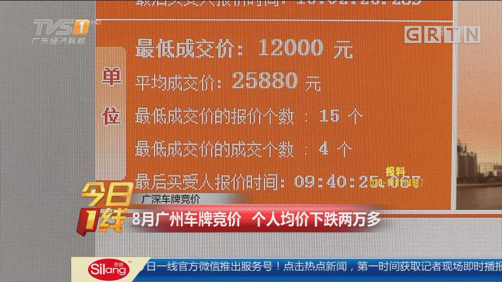 广深车牌竞价:8月广州车牌竞价 个人均价下跌两万多