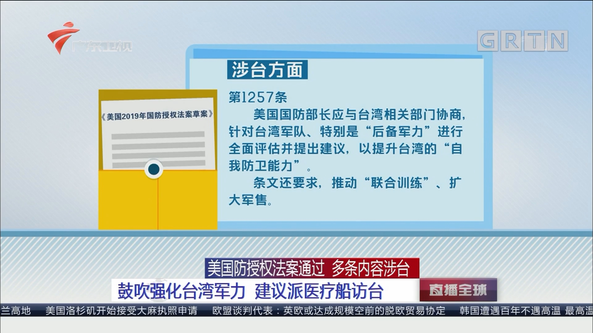 美国防授权法案通过 多条内容涉台:鼓吹强化台湾军力 建议派医疗船访台