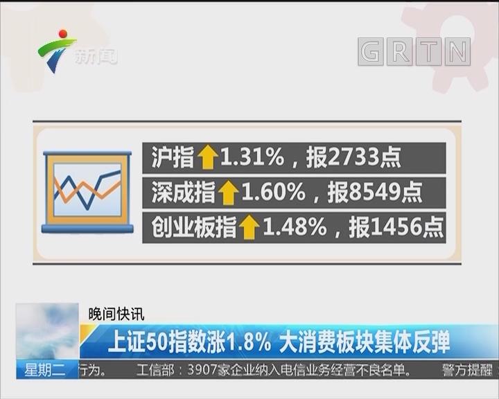 上证50指数涨1.8% 大消费板块集体反弹
