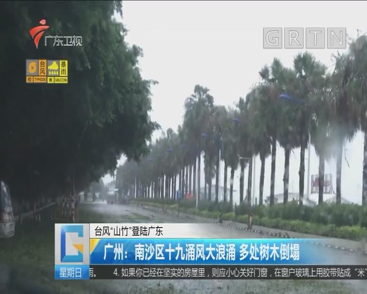 """台风""""山竹""""登陆广东 广州:南沙区十九涌风大浪涌 多处树木倒塌"""