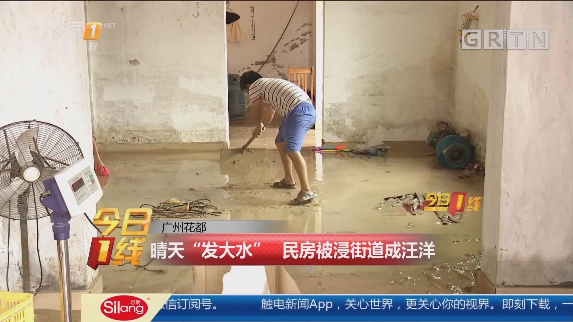 """广州花都:晴天""""发大水"""" 民房被浸街道成汪洋"""