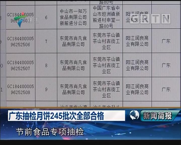广东抽检月饼245批次全部合格