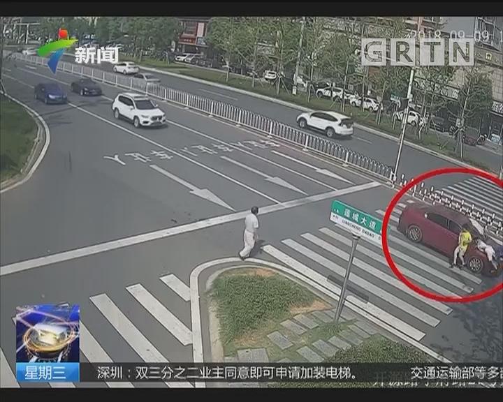 湖南:斑马线上 司机驾车分神撞飞行人