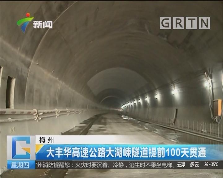 梅州:大丰华高速公路大湖崠隧道提前100天贯通