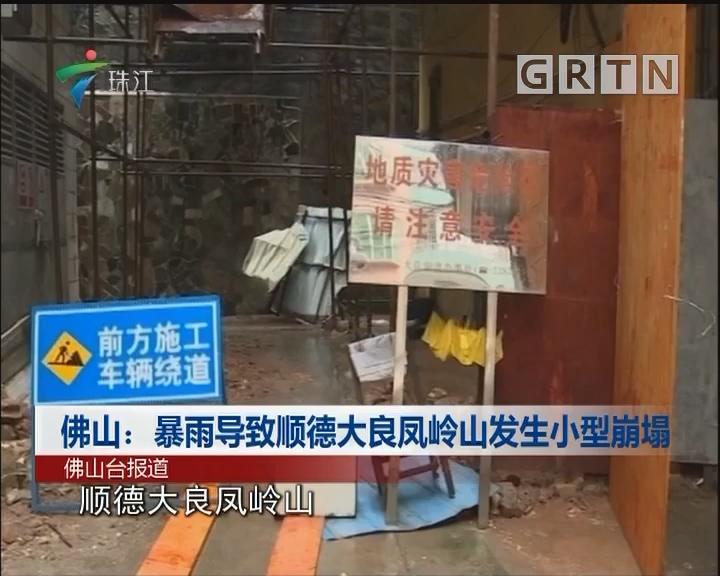 佛山:暴雨导致顺德大良凤岭山发生小型崩塌