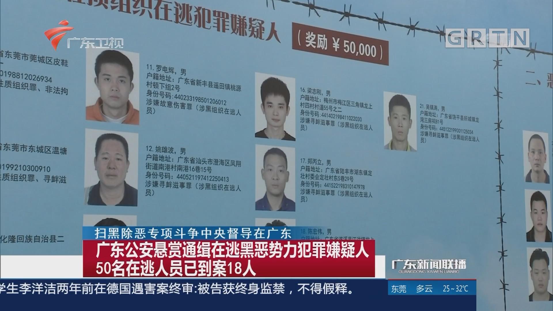 广东公安悬赏通缉在逃黑恶势力犯罪嫌疑人 50名在逃人员已到案18人