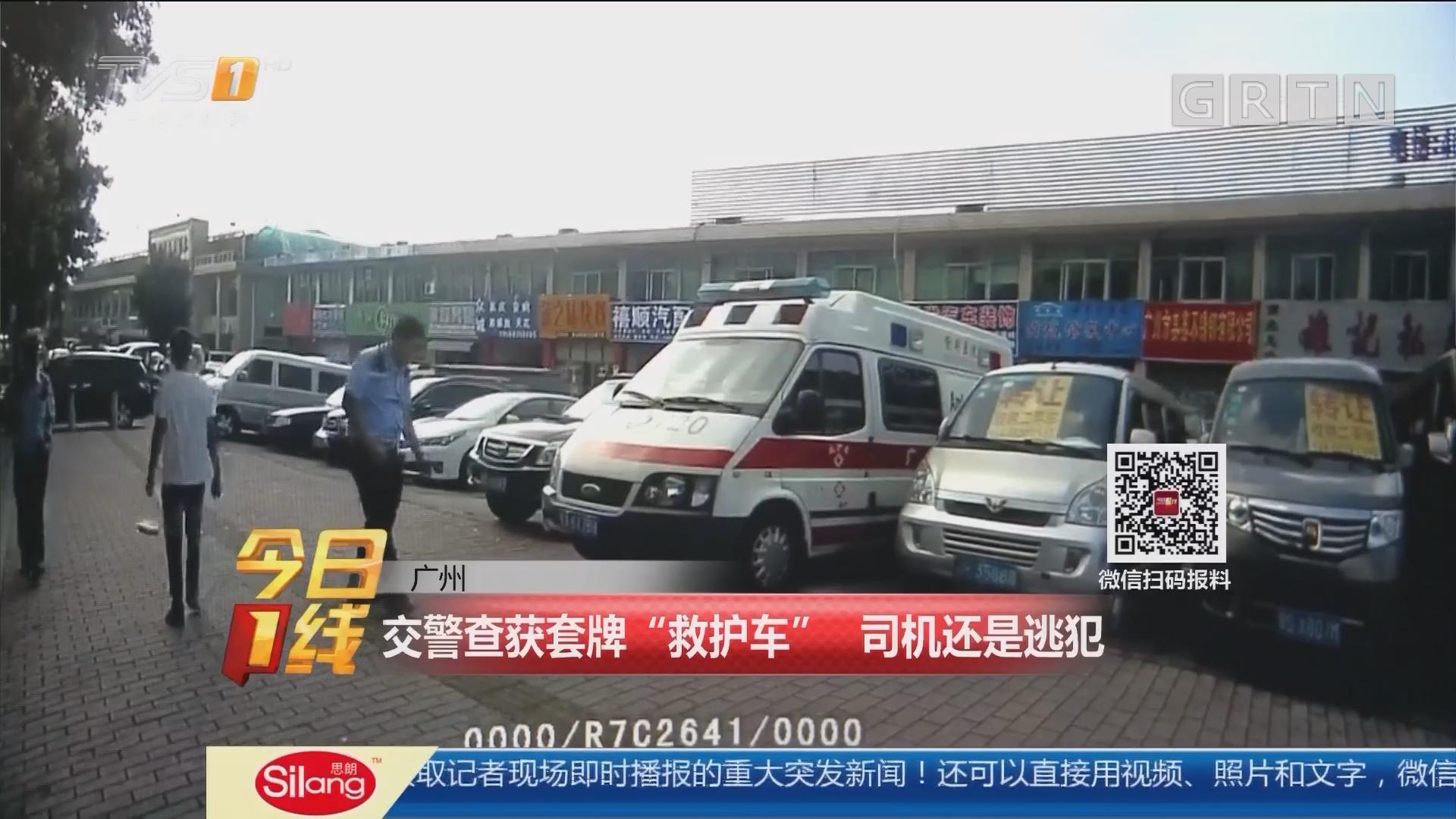 """广州:交警查获套牌""""救护车"""" 司机还是逃犯"""