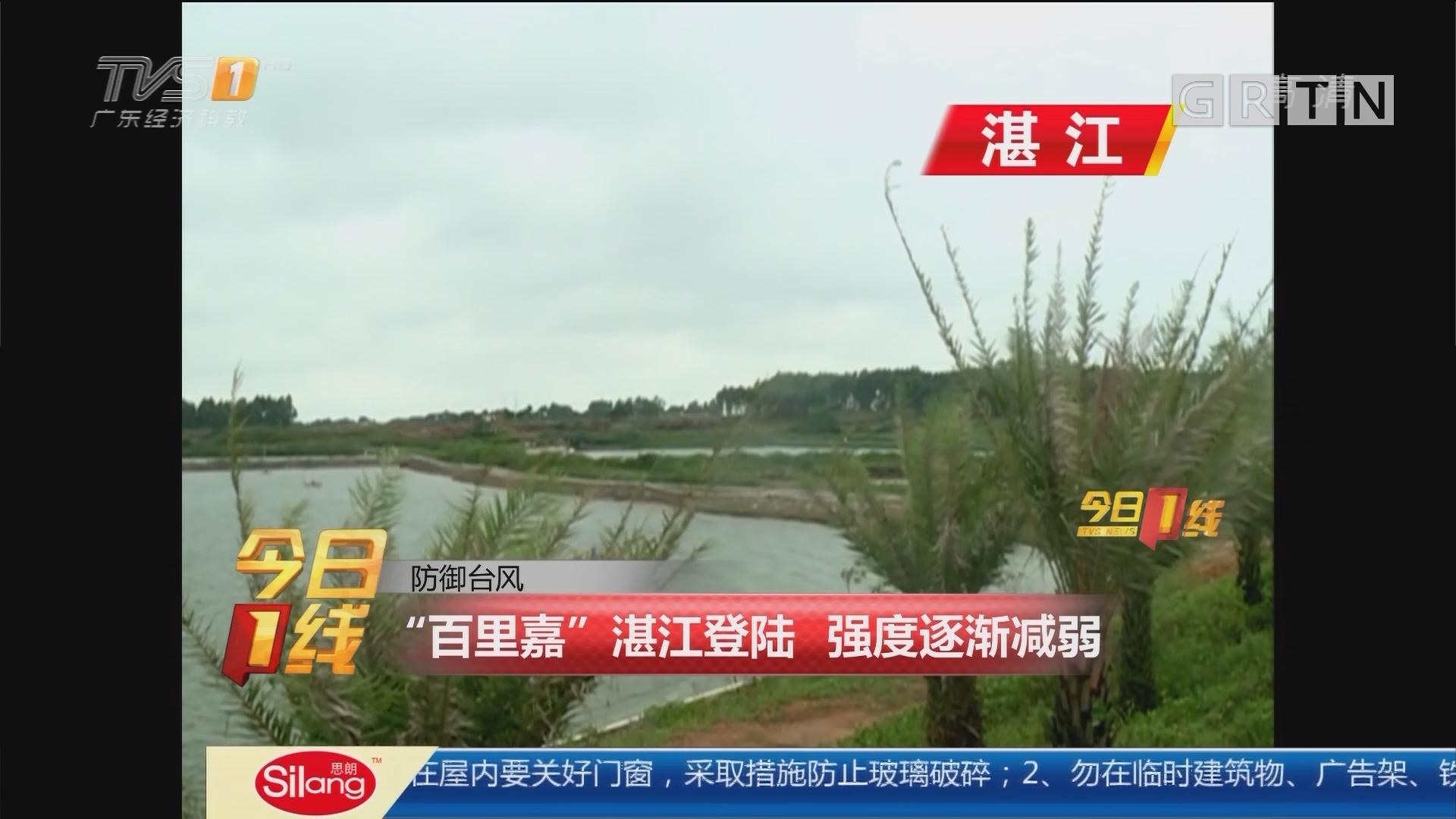 """防御台风:""""百里嘉""""湛江登陆 强度逐渐减弱"""