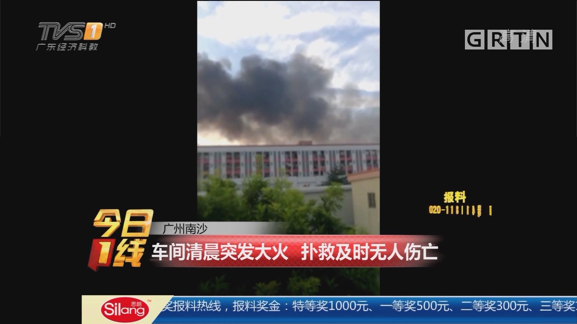 广州南沙:车间清晨突发大火 扑救及时无人伤亡