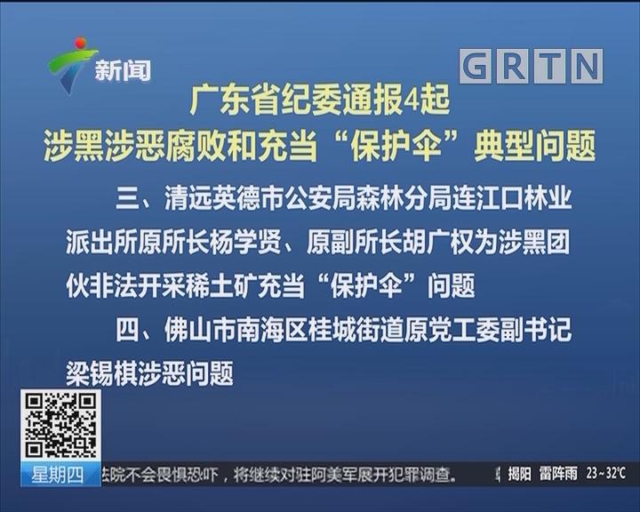 """广东省纪委通报4起涉黑涉恶腐败和充当""""保护伞""""典型问题"""