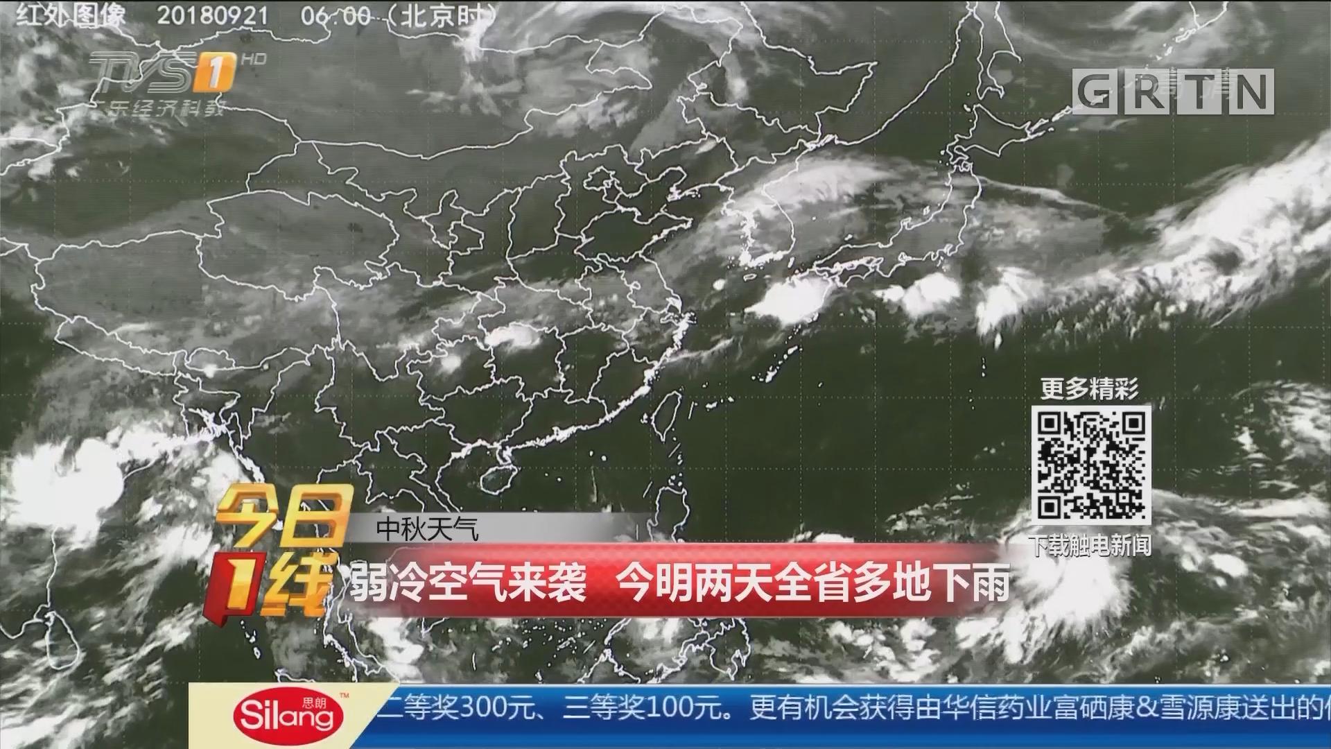 中秋天气:弱冷空气来袭 今明两天全省多地下雨