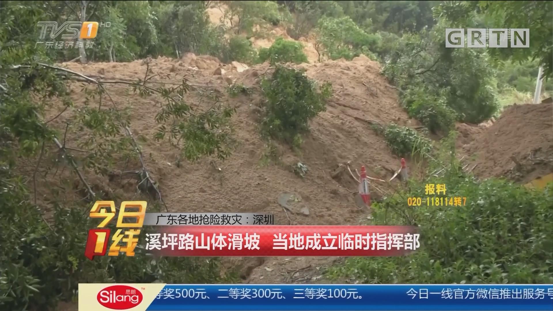 广东各地抢险救灾:深圳 溪坪路山体滑坡 当地成立临时指挥部