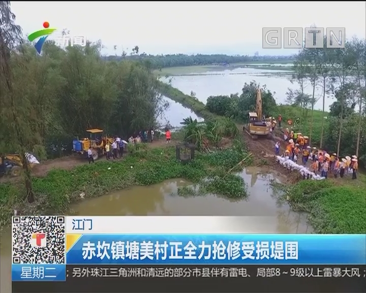 江门:赤坎镇塘美村正全力抢修受损堤围