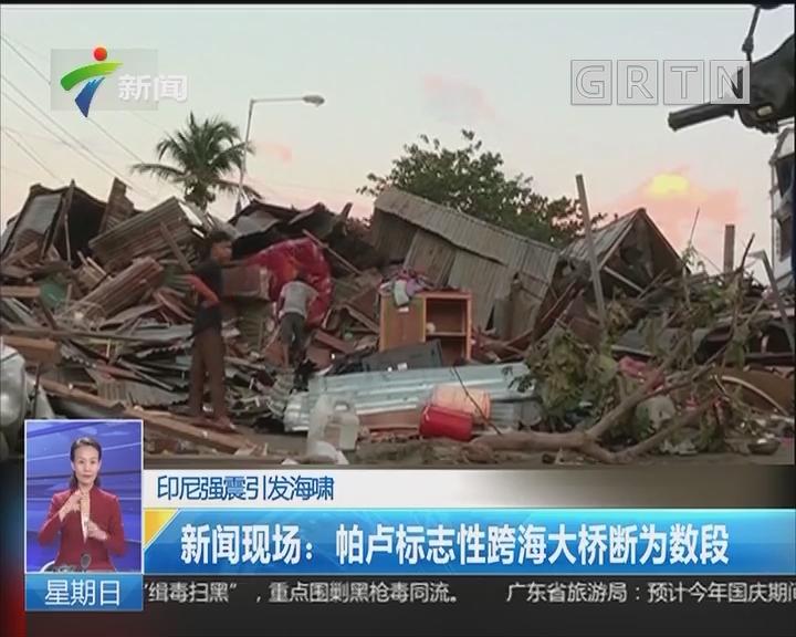 印尼强震引发海啸 新闻现场:帕卢标志性跨海大桥断为数段