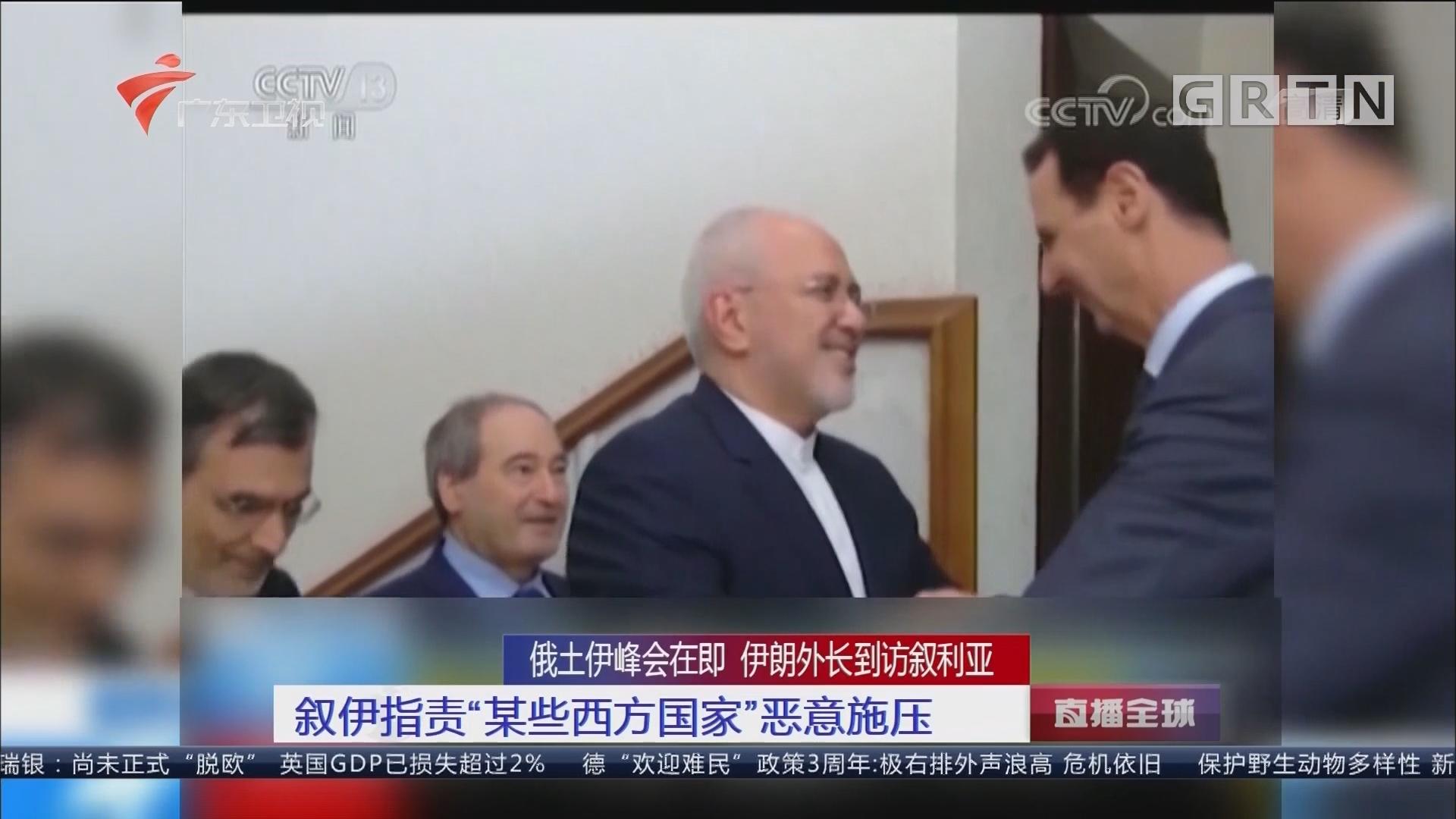 """俄土伊峰会在即 伊朗外长到访叙利亚:叙伊指责""""某些西方国家""""恶意施压"""