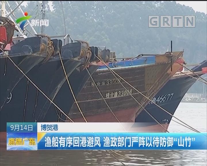 """博贺港:渔船有序回港避风 渔政部门严阵以待防御""""山竹"""""""