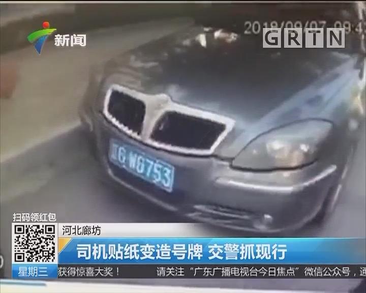 河北廊坊:司机贴纸变造号牌 交警抓现行