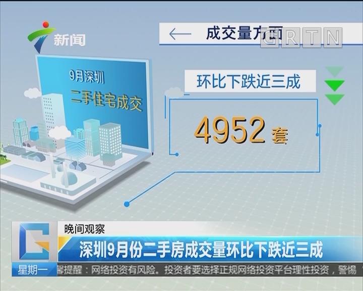 深圳9月份二手房成交量环比下跌近三成