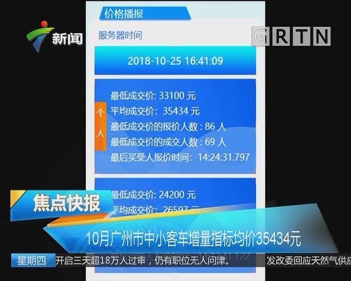 10月广州市中小客车增量指标均价35434元