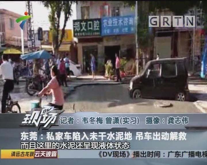 东莞:私家车陷入未干水泥地 吊车出动解救