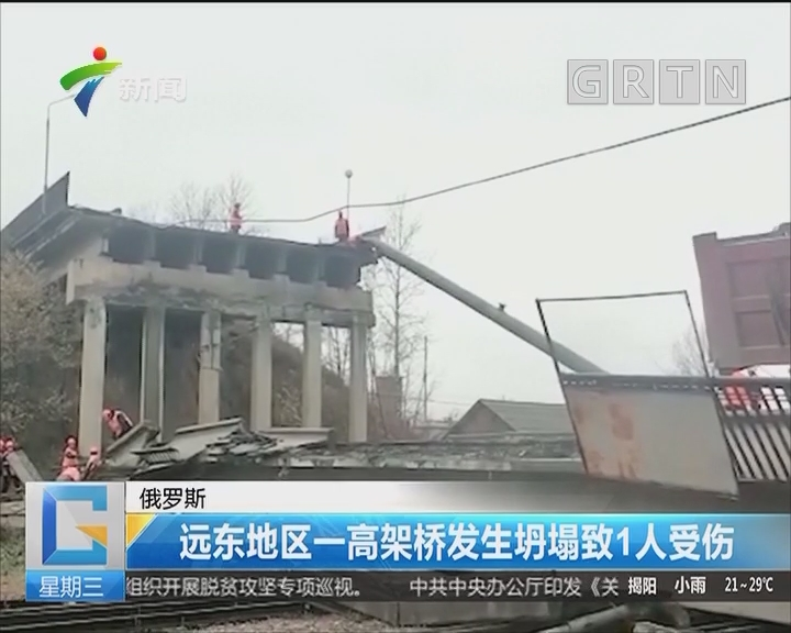 俄罗斯:远东地区一高架桥发生坍塌致1人受伤