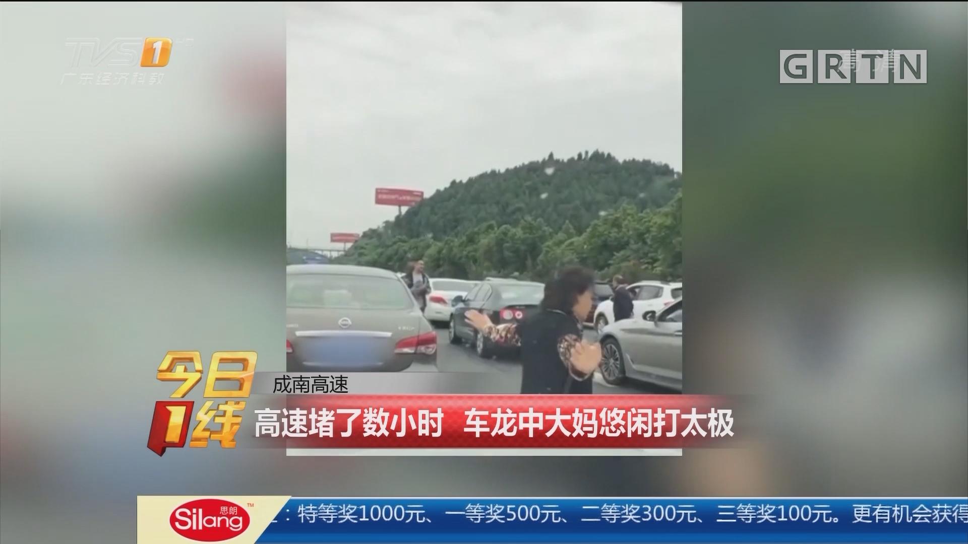 成南高速:高速堵了数小时 车龙中大妈悠闲打太极