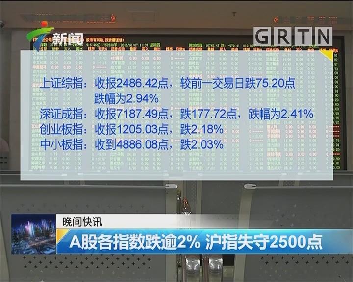 A股各指数跌逾2% 沪指失守2500点