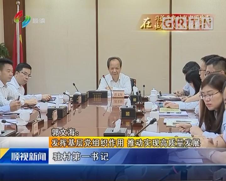郭文海:发挥基层党组织作用 推动实现高质量发展