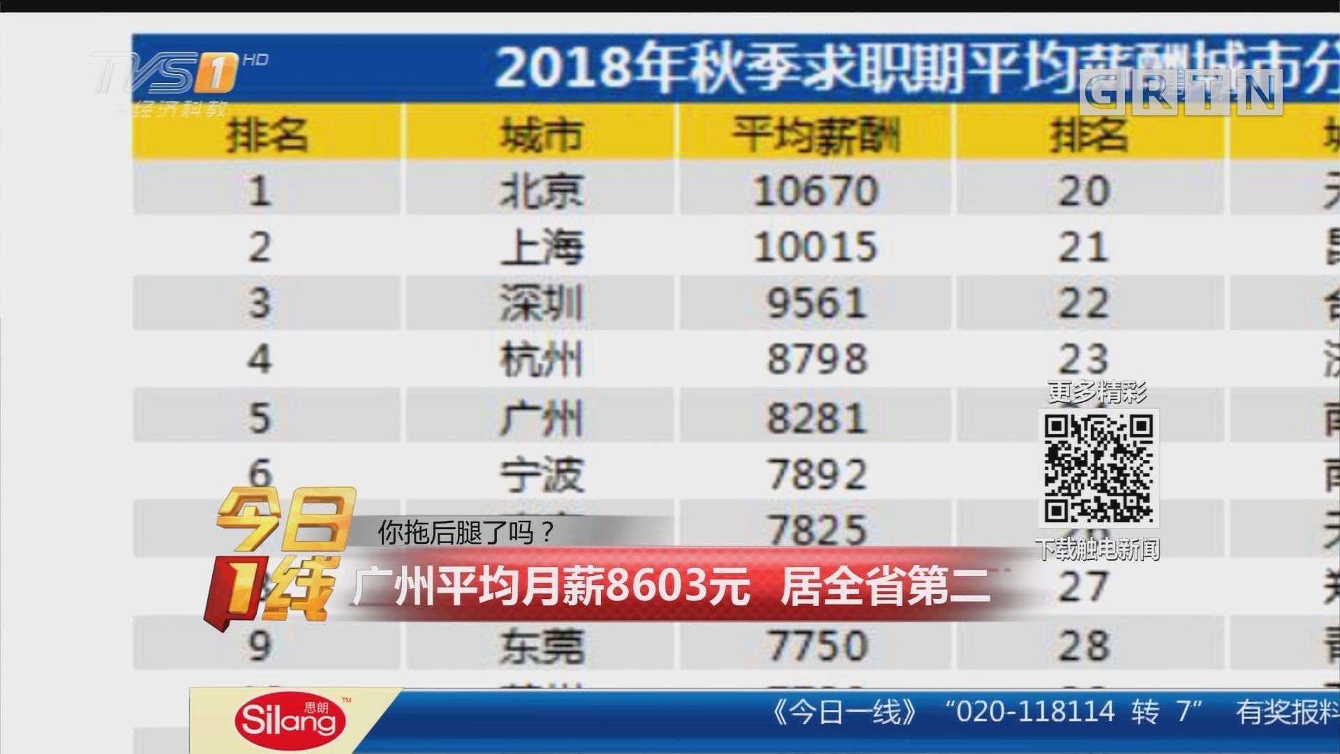 你拖后腿了吗?广州平均月薪8603元 居全省第二
