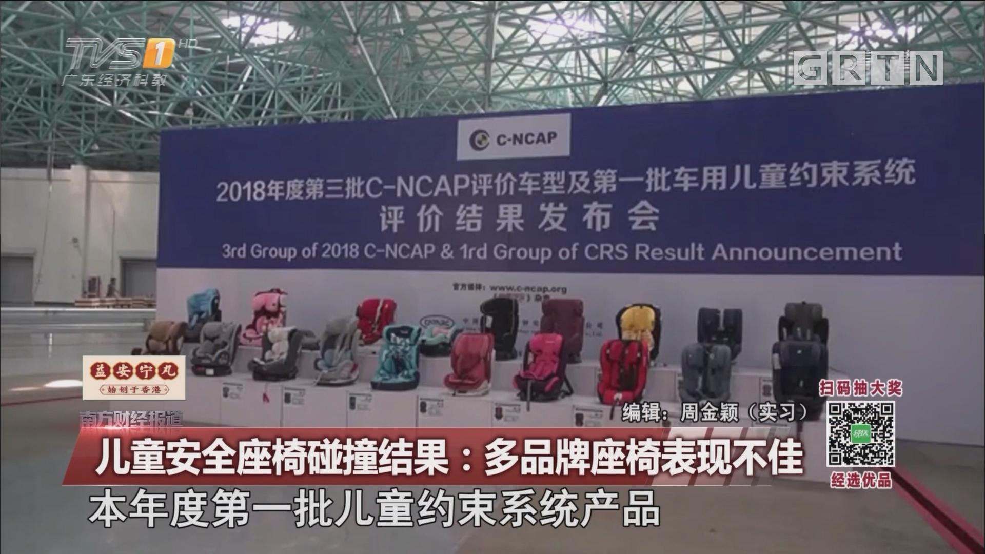 儿童安全座椅碰撞结果:多品牌座椅表现不佳