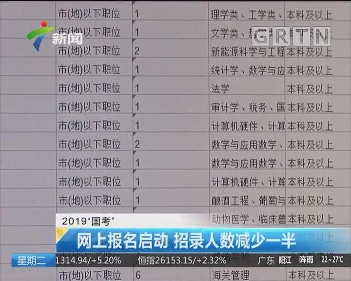 """2019""""国考"""":网上报名启动 招录人数减少一半"""