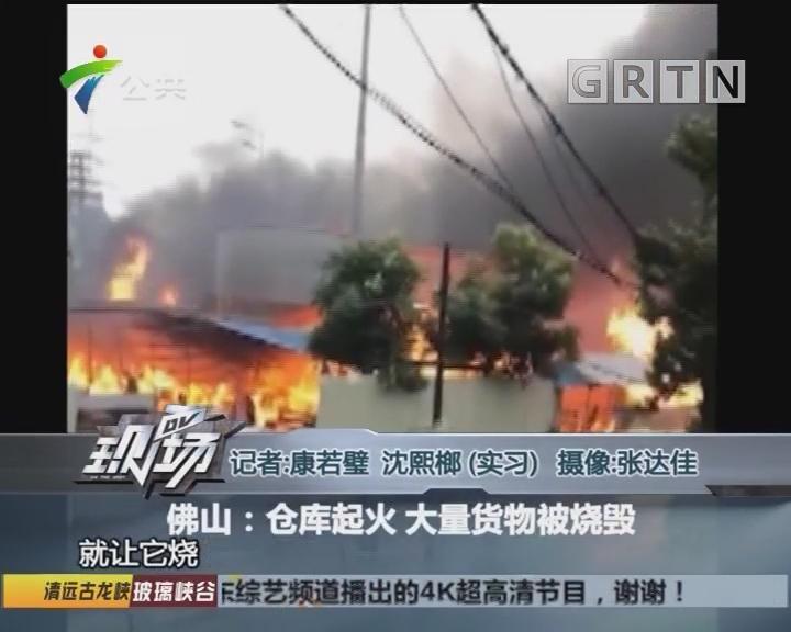 佛山:仓库起火 大量货物被烧毁