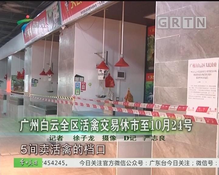 广州白云区活禽交易休市至10月24号