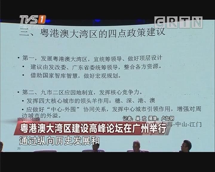 粤港澳大湾区建设高峰论坛在广州举行