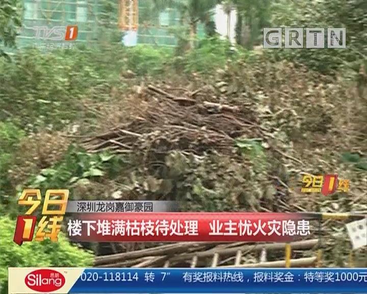 深圳龙岗嘉御豪园:楼下堆满枯枝待处理 业主忧火灾隐患