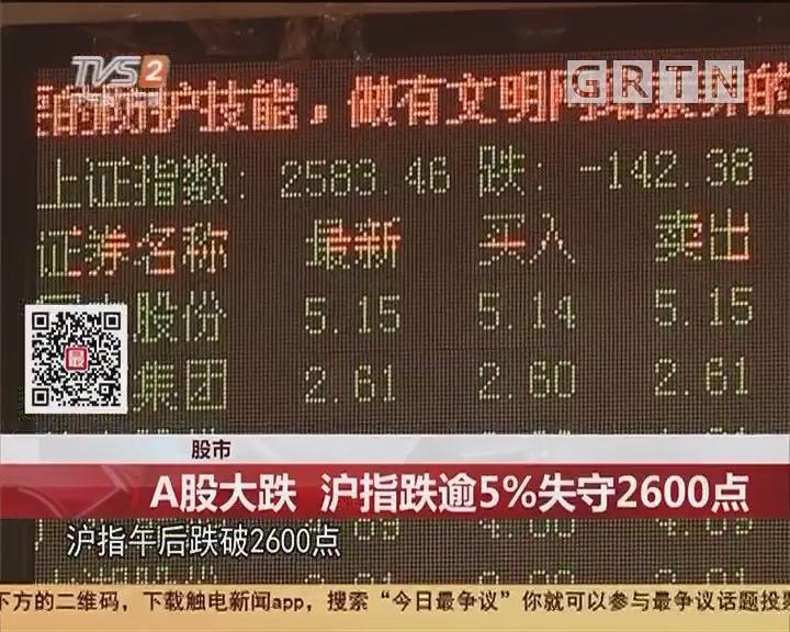 股市:A股大跌 沪指跌逾5%失守2600点