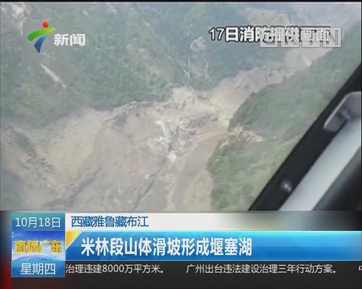 西藏雅鲁藏布江:米林段山体滑坡形成堰塞 湖
