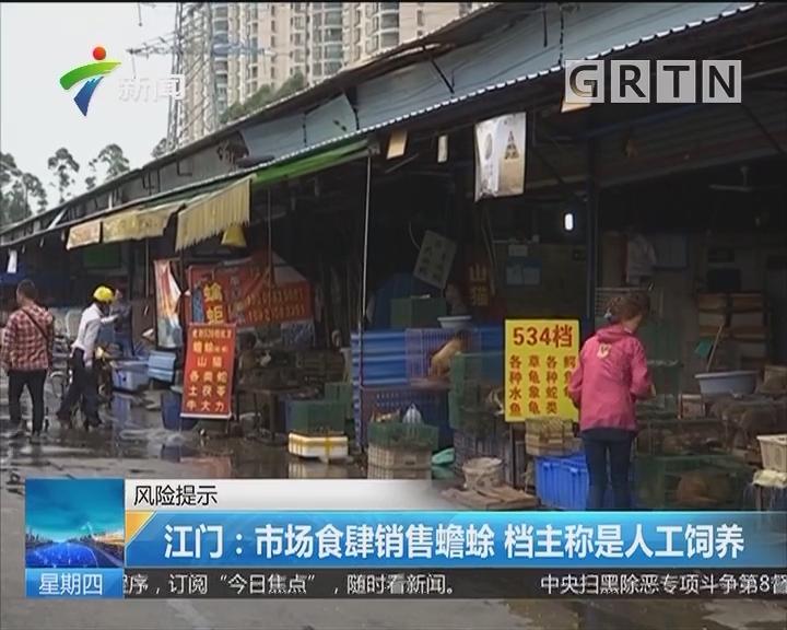 风险提示 江门:市场食肆销售蟾蜍 档主称是人工饲养