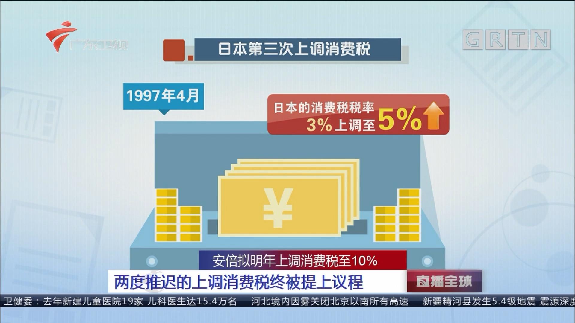 安倍拟明年上调消费税至10% 两度推迟的上调消费税终被提上议程