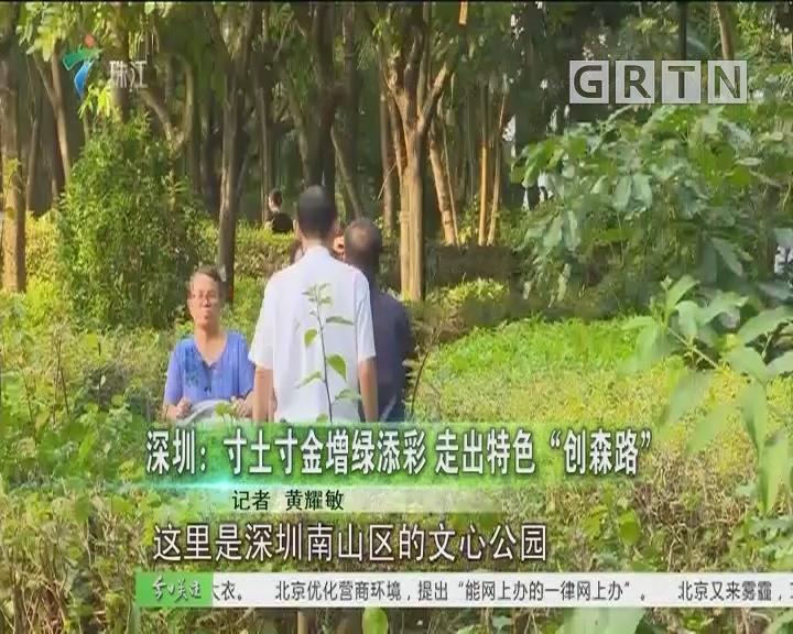 """深圳:寸土寸金增绿添彩 走出特色""""创森路"""""""