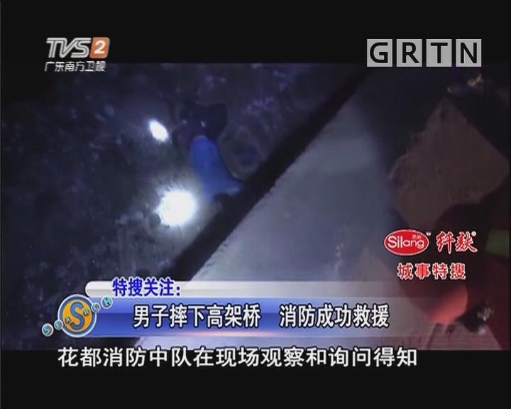 男子摔下高架桥 消防成功救援