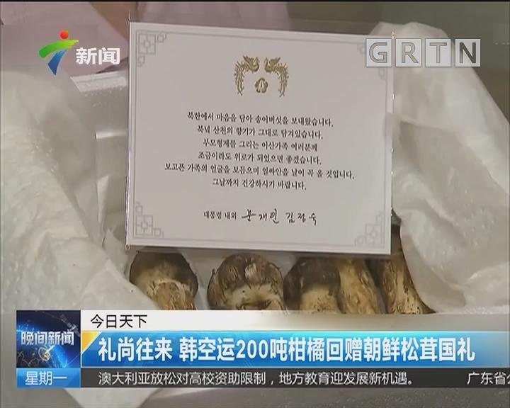 礼尚往来 韩空运200吨柑橘回赠朝鲜松茸国礼